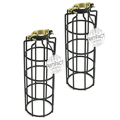 industrial design elongated metal wire cage lamp guard by